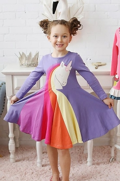 Lemon Loves Lime Rainbow Unicorn Dress