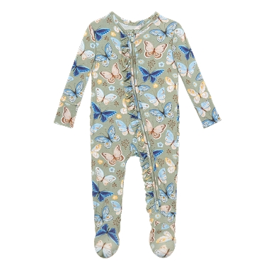 Posh Peanut Lucy Footie Ruffled Zippered One piece