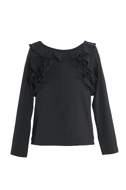 Hannah Banana Black Long Sleeve Top with Ruffles