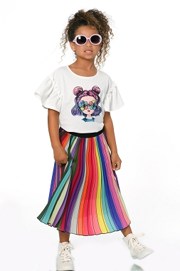 Hannah Banana Rainbow Pleated Midi Skirt