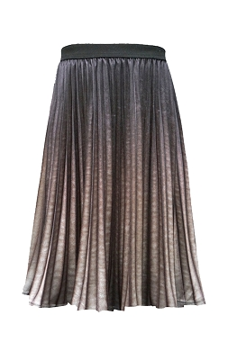Hannah Banana Ombre Pleated Midi Skirt Brown Multi