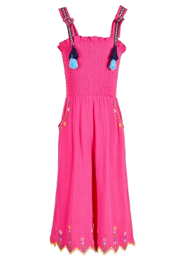 Hannah Banana Smocked Top Jumpsuit Fuchsia