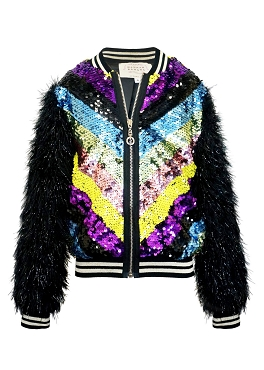 Hannah Banana Sequin Bomber Jacket