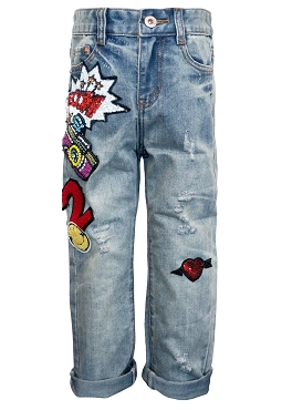 Hannah  Banana Boyfriend Jeans W Patches