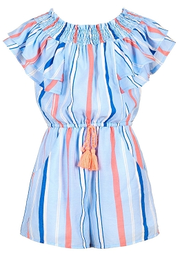 Hannah Banana Striped Off Shoulder Romper Blue Mulit