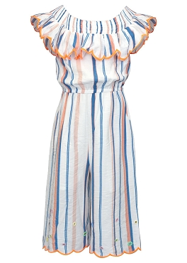 Hannah Banana Striped Jumpsuit Off The Shoulder