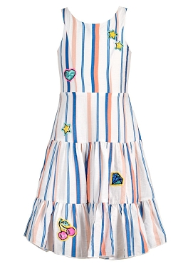 Hannah Banana Striped Fit and Flare Tiered Dress
