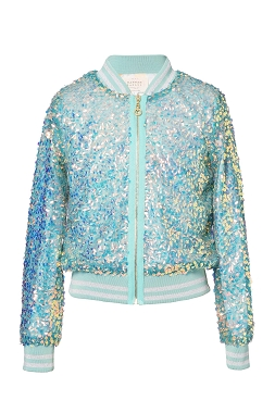Hannah Banana Sequin Green Bomber Jacket