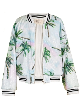 Hannah Banana Palm Tree Print Sequin Bomber Jacket *PRE ORDER