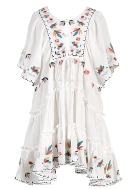 Hannah Banana Kimono Sleeve Tired Dress White *PRE ORDER