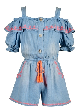 Hannah Banana Chambray Romper W Embroidery