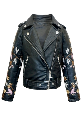 Hannah Banana Black Faux Leather Biker Jacket