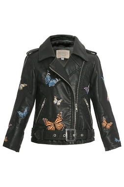 Hannah Banana Butterfly Faux Leather Jacket