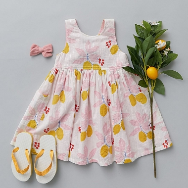 Pink Chicken Alyssa Dress Antique White Lemons