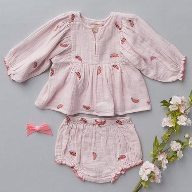 Pink Chicken Ava Bella 2 Piece Chalk Pink With Watermelons Embroidery