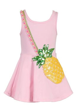 Baby Sara Pineapple Purse Dress Pink
