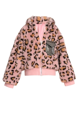 Baby Sara Animal Print Faux Fur Bomber Jacket
