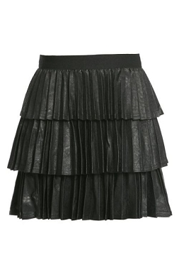 Hannah Banana Pleated Faux Leather Skirt