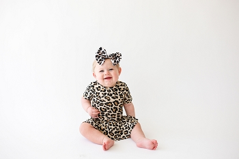 Posh Peanut Lana Leopard Bodysuit Short Sleeve Twirl Dress