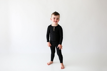 Posh Peanut Black Ribbed Long Sleeve Henley Romper