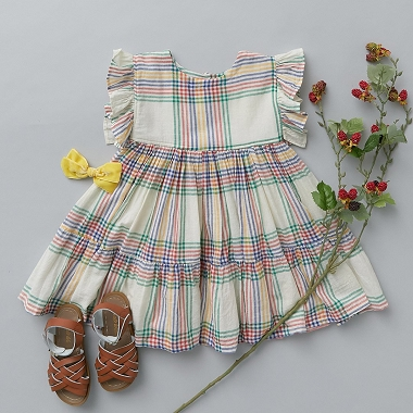 Pink Chicken Antique White Multi Plaid Kit Dress