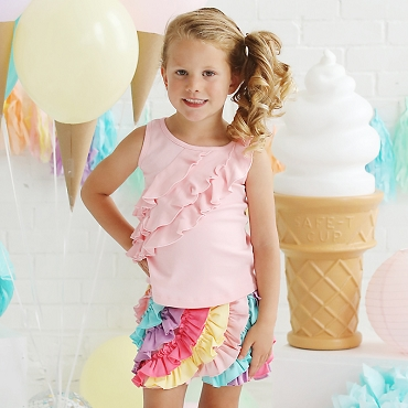 Lemon Loves Lime Rose Shadow 3 Tiered Ruffle Tank