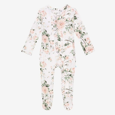Posh Peanut Delilah Ruffle Footie Layette Zip Up