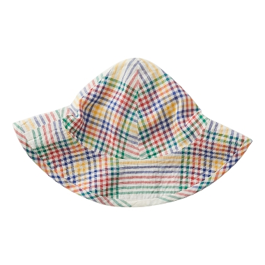Pink Chicken Sun Hat Antique White Multi Plaid