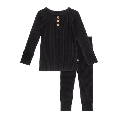 Posh Peanut Long Sleeve Henley Loungewear Black Ribbed