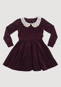 Rock Your Baby Lace Collar Velvet LS Dress
