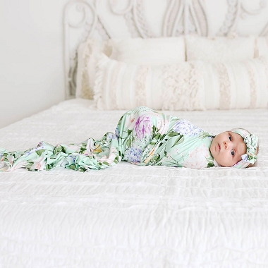 Posh Peanut Erin Infant Swaddle and Headwrap Set