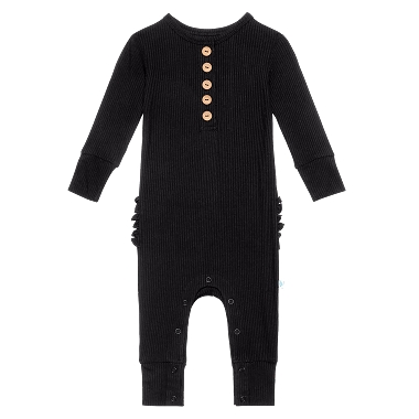 Posh Peanut Ruffled Black Long Sleeve Henley Romper Ribbed