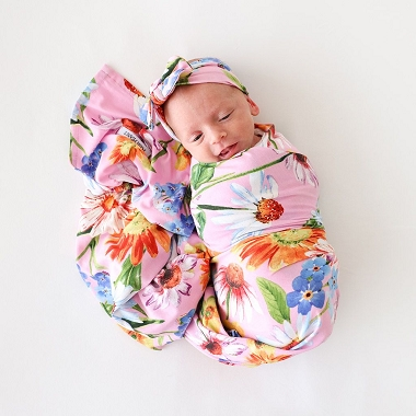 Posh Peanut Kaileigh Bamboo Swaddle And Headwrap Set