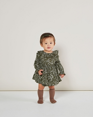 Rylee + Cru Vines Ruffle Collar Dress Forest