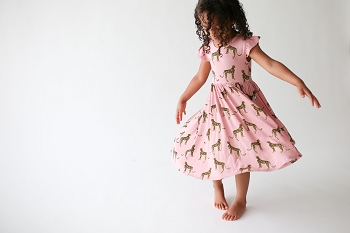 Posh Peanut Mara Ruffled Capsleeve Twirl Dress