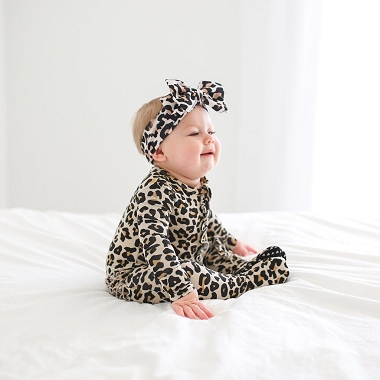 Posh Peanut Lana Leopard Footie Ruffled Zippered One Piece