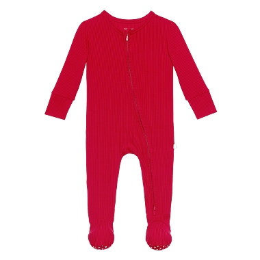 Posh Peanut Crimson Footie Zippered One Piece Solid Ribbed