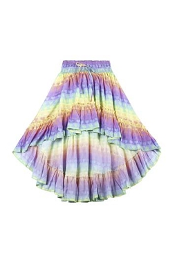 Paper Wings Rainbow Heart Stripe Frilled Maxi Skirt