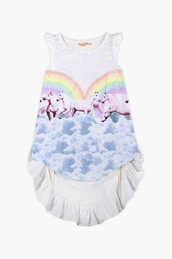 Paper Wings Frilled Bustle Dress Rainbow Horses