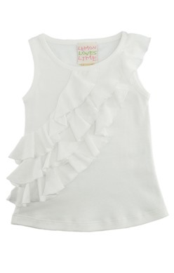 Lemon Loves Lime White 3 Tiered Ruffle Tank