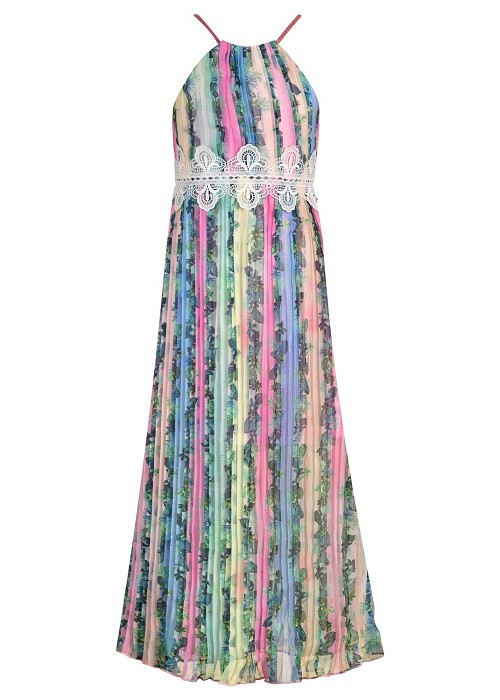 Hannah Banana Tropical Print Halter Maxi Dress